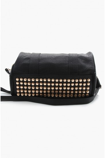 LoveMelrose.com From Harry & Molly | Rocco Stud-Bottom Satchel Bag - Black - Gold