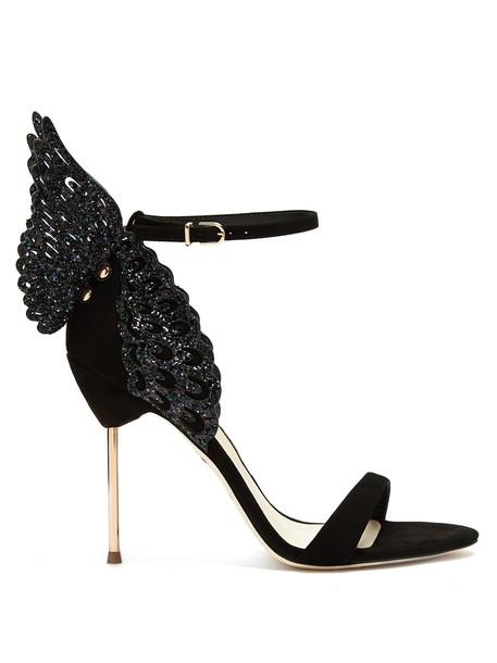 Sophia Webster butterfly sandals suede black shoes
