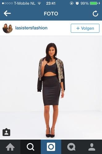 dress two-piece grey top skirt fashion mode jacket