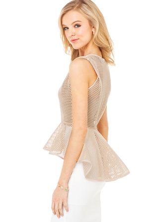 shirt bqueen fashion girl sexy chic elegant beige net hollow asymmetrical t-shirt perspective top blouse nude peplum