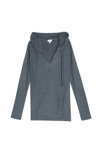 hoodie draped charcoal sweater