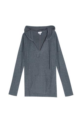 hoodie draped charcoal sweater