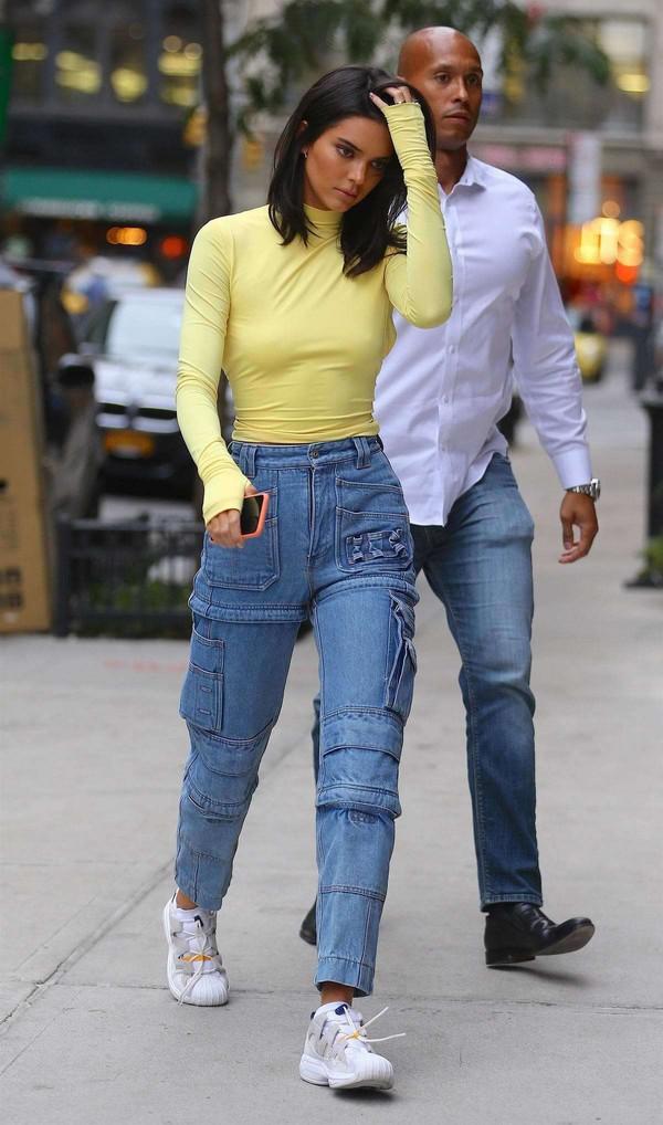 jeans denim kendall jenner kardashians yellow streetstyle fashion week
