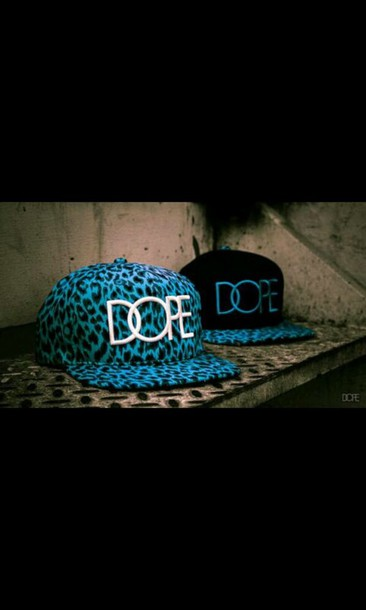 hat blue animal print dope black