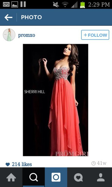 dress prom coral sherri hill long
