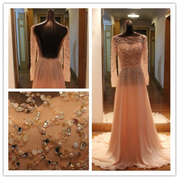 backless dress open back dresses sexy dress evening dress beaded dress long sleeve dress 2014 dress prom dress formal dress women dress new dresses dress