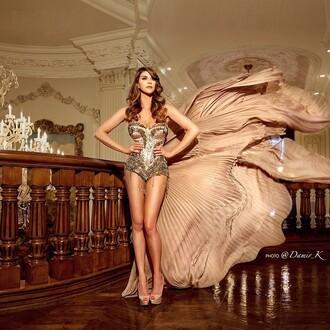 top shiva safai celebrity bodysuit silver platform pumps pumps nude pumps