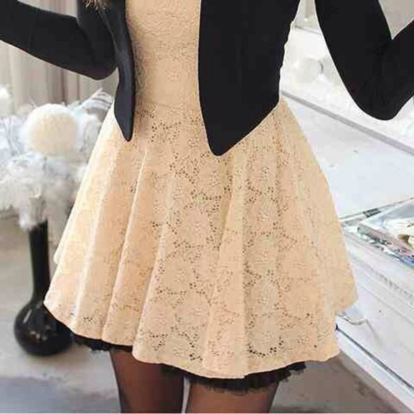 lace dress cream dress black blazer blouse half way