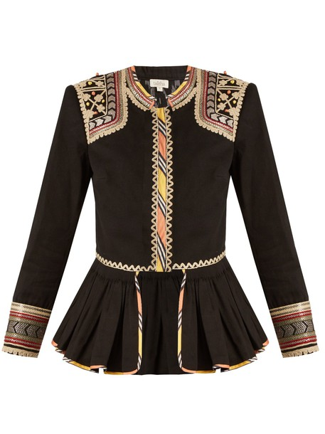 jacket embroidered cotton black