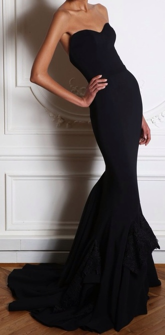 dress little black dress mermaid dress prom dress formal no pattern simple classic long