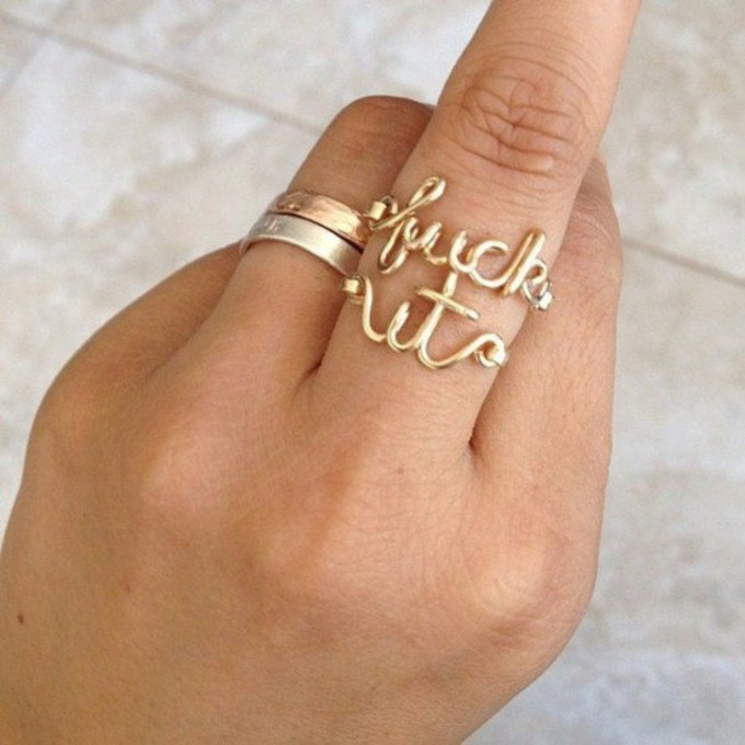 ring middle finger jewels gold goldring fuck it fuckit gold ring the middle