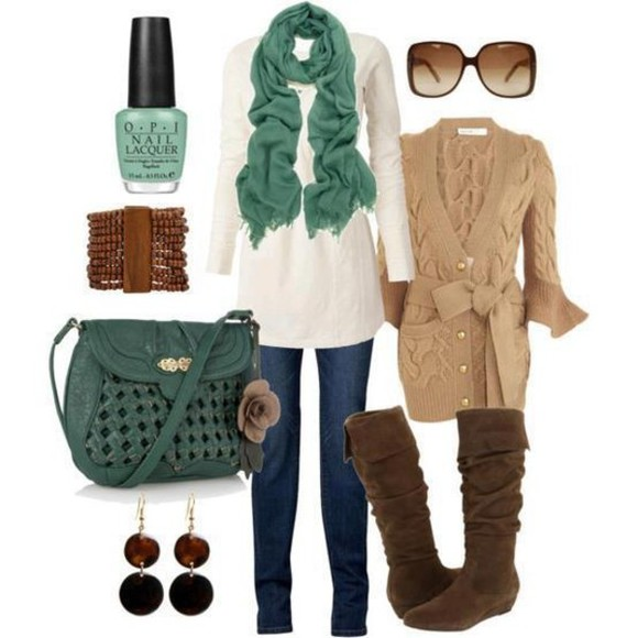 blouse white blouse brown boots beige blouse blue scarf blue bag