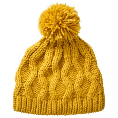 Crochet Beanie Hat with Ball - Yellow : Target