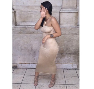 dress nude bodycon dress midi dress bodycon shoes suede long strapless