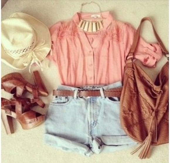 shorts denim shirt pink necklace hat shoes bag belt jewels