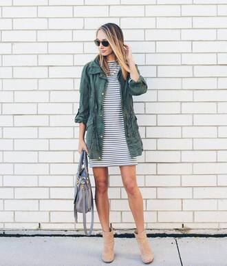 jacket tumblr mini dress dress striped dress stripes parka army green jacket bag grey bag boots nude boots ankle boots fall outfits sunglasses