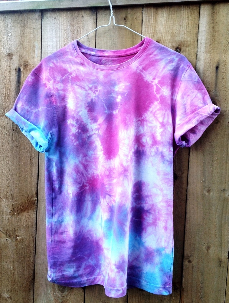 Blue Purple And Pink Tie Dye Short Sleeve T-shirt Pink Tie Dye Short Sleeved