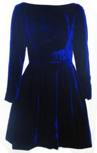 dress long sleeve dress blue velvet dress blue dress velvet