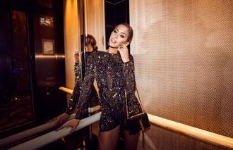 kenza blogger bag romper embroidered clubwear shiny