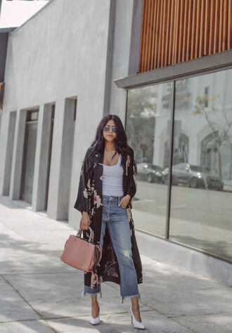 bag leather bag denim jeans duster coat white top black duster floral sunglasses