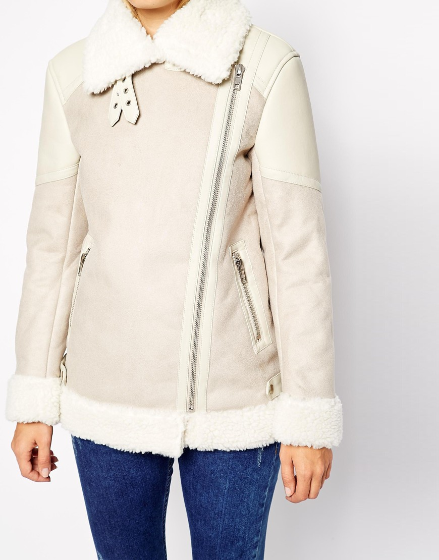 Warehouse Shearling Biker Jacket at asos.com