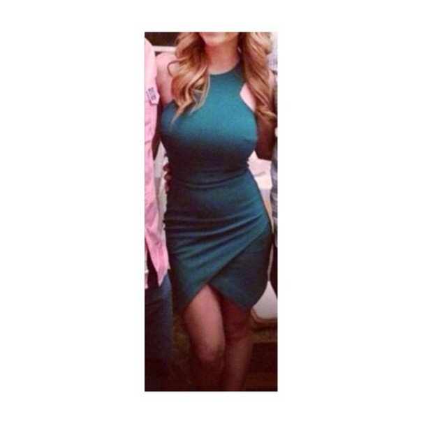 dress turquoise teal green asymmetrical shift skirt high neck mini dress high neck asymmetrical dress