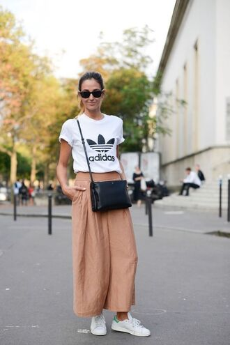 shoes sunglasses adidas t-shirt peach flared pants adidas shoes black bag blogger