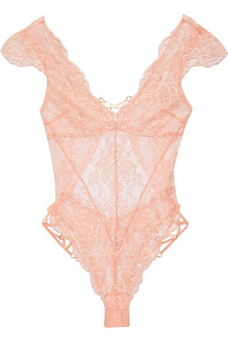 bodysuit lace bodysuit lace satin peach underwear