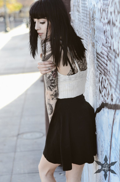 skirt top skater skirt white crop top black skater skirt crop tops bralette sweater bralette cream crop top sweater crop top hannah snowdon tuk knit bralette top knit crop top white bralette