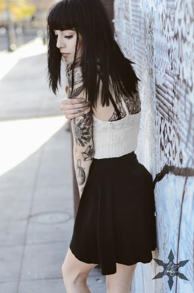 skirt top black skater skirt skater skirt crop tops bralette sweater bralette white crop top cream crop top sweater crop top hannah snowdon tuk knit bralette top knit crop top white bralette