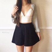 skirt,black,white,sweater,grey,black skirt,white top,grey cardigan,top,cardigan,oversized,cropped,short,skater skirt,circle skirt,cropped tank top,tank top,white crop tops,crop tops,mini skirt,knitted cardigan,knitwear,v neck,halter top,halter crop top,grey sweater,black skater skirt,black and white,straps,midi skirt,high waisted skirt,high waisted,cute,cute outfits,outfit,shirt,bottoms,white cropped,black and white dress