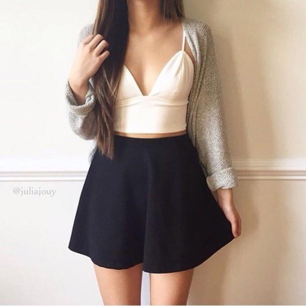 Skirt Black White Sweater Grey Black Skirt White Top