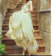 dress,lined dress,empire waist,thick strap dress,long dress,maxi dress,cream dress,gold lined dress