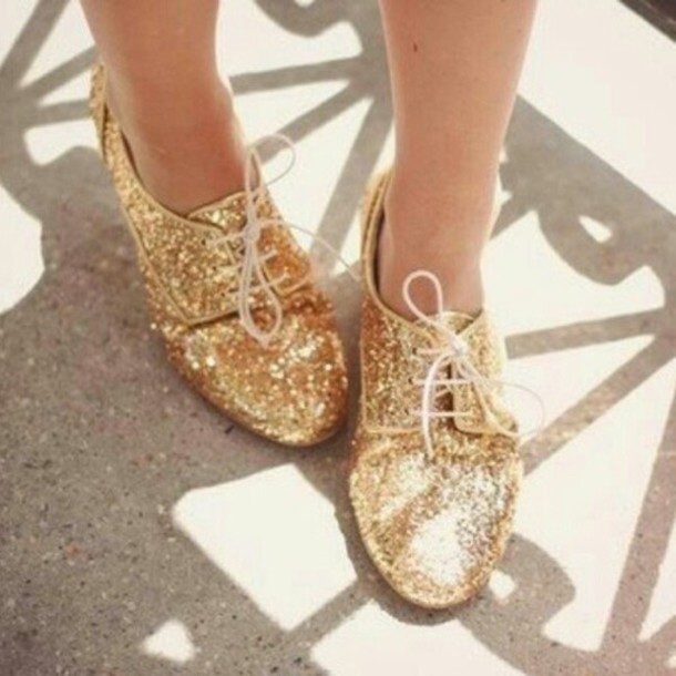 shoes glitter oxfords gold