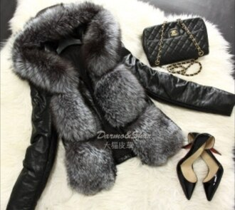 jacket fur black leather jacket fur leather perfecto shoes cothing fur jacket fluffy fur coat winter jacket winter sports fur vest coat winter coat winter fur coat sweater hoodie redheels heels high heels purse clutch chanel bag bag style fashion chanel top cute sexy faux fur coat grey luxury