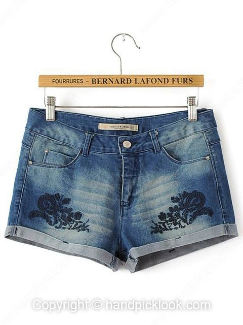 Dark Blue Flower Embroidery Denim Shorts - HandpickLook.com