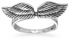 Oxidized Angel Wings Ring 925 Sterling Silver