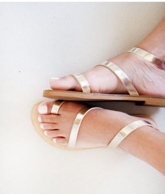 shoes gold sandals strap wrap nail polish