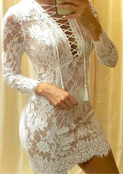 0a77aa19d5ec dress, white, lace, tie up dress - Wheretoget