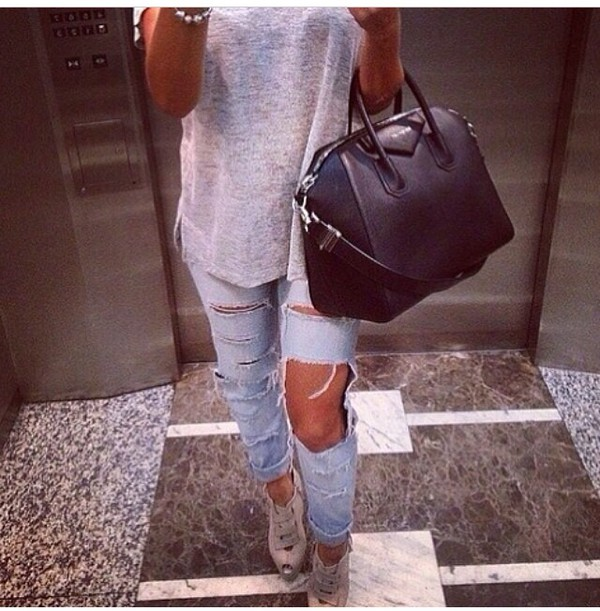 jeans shoes bag