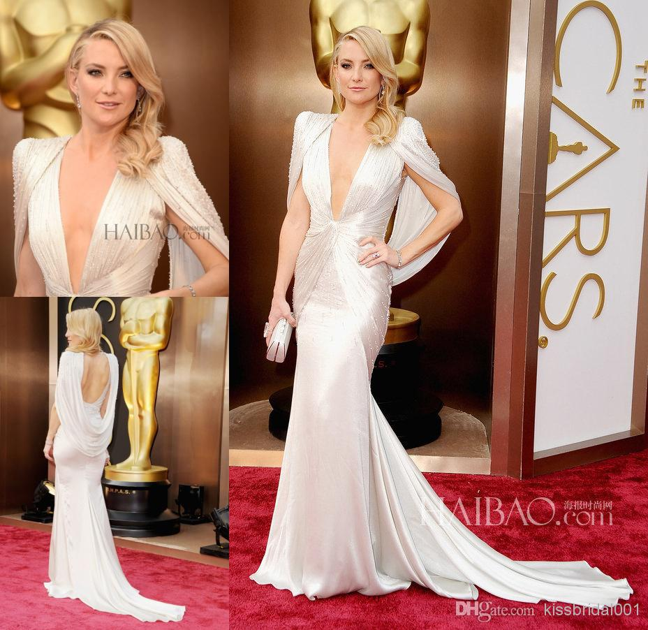 Buy the 2014 86th oscars academy awards red carpet backless evening gowns beads sheath v neck cap sleeves satin kate hudson celebrity dresses, $157.18