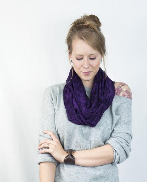 accessory scarf infinity scarf aubergine purple scarf purple lace lace scarf