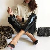 pants,tumblr,vinyl,black pants,black leather pants,leather pants,sweater,white sweater,cable knit,white cable knit sweater,turtleneck sweater,turtleneck,pumps,pointed toe pumps,high heel pumps,black heels,bag,black bag,quilted bag,designer bag,black vinyl pants