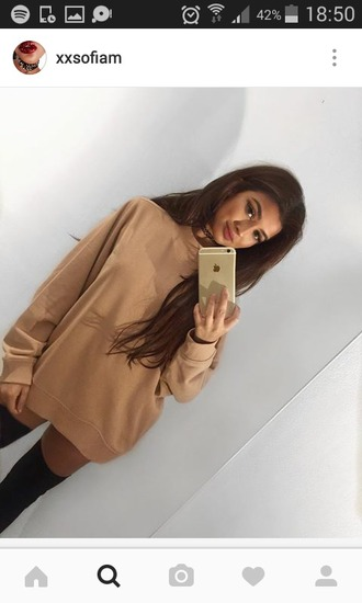 sweater pull pullover hoodie brown marron nude largelarge sweater vintage nude sweater