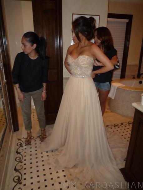 Dress Kim Kardashian Beige Dress Champagne Prom Dress