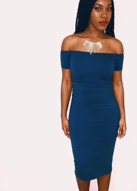 dress navy blue off the shoulder black women melanin on fleek