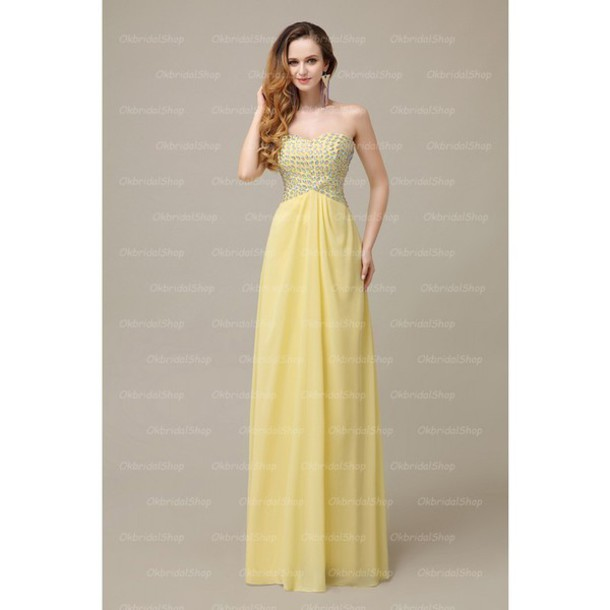 dress yellow prom dress long