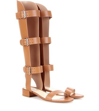 sandals leather brown shoes