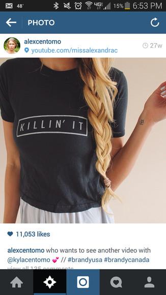 t-shirt lana del rey tumblr shirt killin it braid clothes