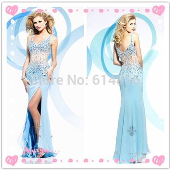 Aliexpress.com : Buy Hot Sale Sexy V neck Spaghetti Strap Long LIght Blue Chiffon Mermaid Side High Thigh Slit Pageant Prm Dress 2014 Crystals Beaded from Reliable crystal mouse suppliers on Suzhou Babyonlinedress Co.,Ltd